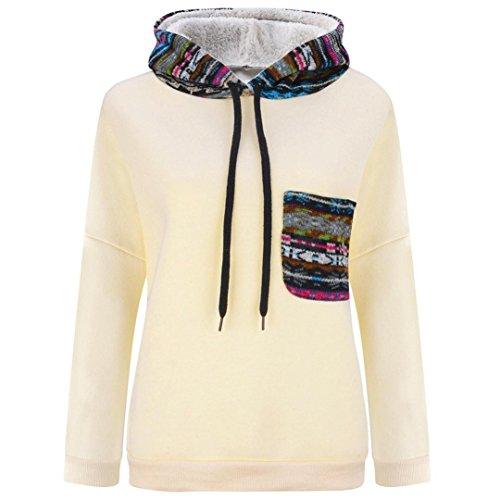 Coversolate Las mujeres de manga larga, además de terciopelo espesado del suéter encapuchado blusa de la tapa (L, Beige)