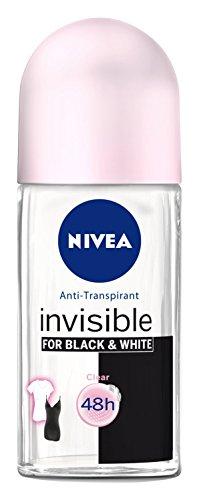 Nivea, Deodorante Invisible Black&White Clear Roll-On, 3 pz. da 50 ml