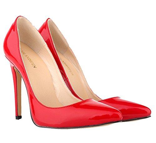 Wealsex Elegante Bonbonfarben Stiletto Damen Pumps Stiletto High Heels 2017 Frühling und Sommer Schuhe Rot
