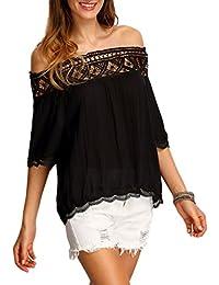 Minetom Blusa Camiseta Casual Elegante Hueco Cuello Campesino Barco Manga Corta para Mujer