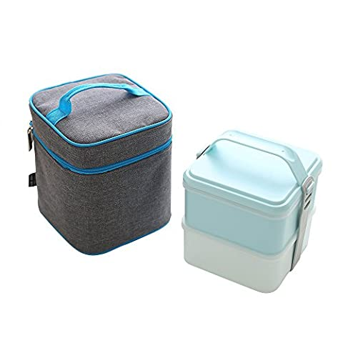 Zooron Boîtes repas avec 2récipients/Couverts, Tote Box avec ensemble de Oxford Isolation thermique Lunch Cooler Bag Ice Lot Nourriture Transporteurs A1