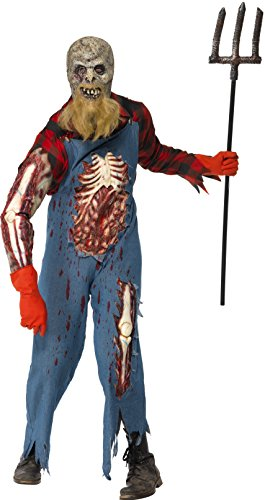 e-Hinterwäldler Kostüm, Jumpsuit, Hemd, Maske mit Bart, Handschuhe und Latex Ärmel, Größe: L, 26862 (Amazon Halloween Kostüme Kinder)