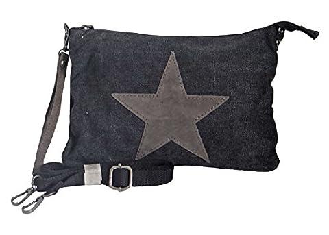 angesagte kultige Canvas Teenager Tasche Umhaengetasche mit Stern aus Leder