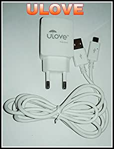 U Love Mobile Charger With Data Cable - Adaptive Fast Charging 2A USB with Deta cable micro USB to USB Cable - White