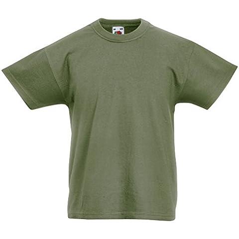Fruit of the Loom Niños camiseta original - 21 Colores / E - Classic Olive - 911