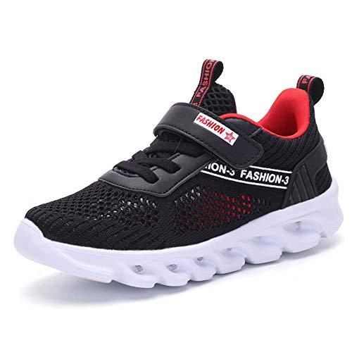XMJM Kinder LED Leuchten Sneakers-Knit Atmungsaktive Outdoor Sport Laufschuhe 7 Farben Luminous Blinking USB Wiederaufladbare Unisex,Black,35 -