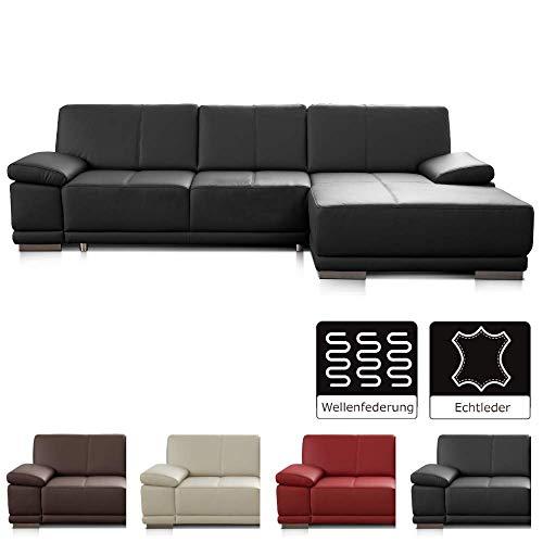 CAVADORE Ecksofa Corianne / Ledercouch in modernem Design / Inkl. beidseitiger Armteilverstellung und Longchair rechts / 282 x 80 x 162 / Echtleder schwarz