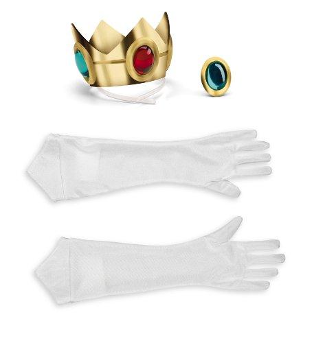 Super Mario 13382–Set Kostüm Prinzessin Peach, weiß, Einheitsgröße