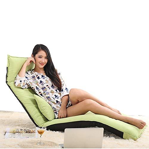 Sofa Stuhl Lounge Schlafsofa Faltbare verstellbare Bodenliege Sleeper Futon Matratze Seat Chair w/Pillow (Farbe : Green) - Metall-futon-matratze