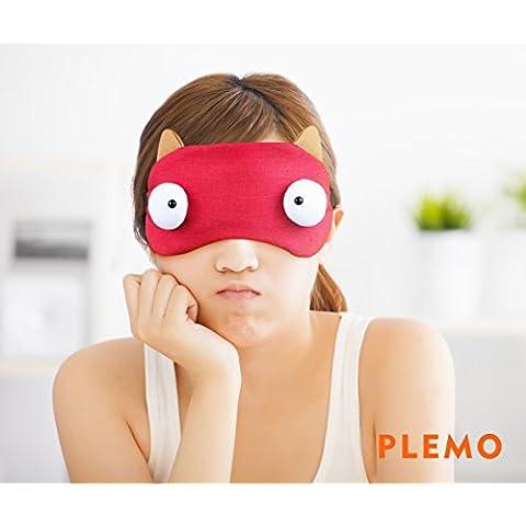 PLEMO Antifaz con Gel de Perlas Oculares Compresa Frío- Calor 100% Bloquea la Luz Perfecto para Antifatiga y Antiojeras 2 in 1 Rojo