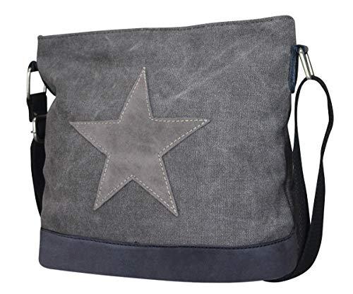 Damen Stern Handtasche Schultasche Clutch TOP TREND Tragetasche (Schwarz/Grau Modell 3)