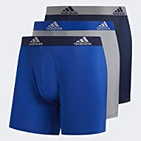 adidas Men's Climalite Boxer Briefs Underwear (3-Pack), Collegiate Royal/Collegiate Navy Grey/Collegiate Royal, Large