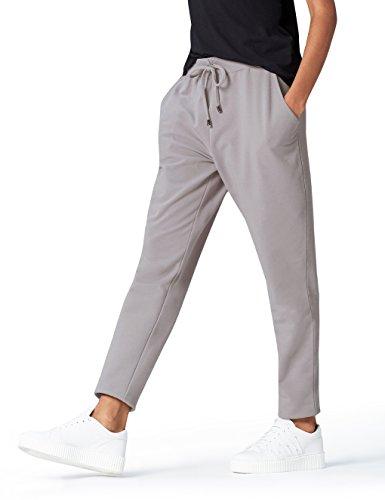 find. Jogginghose Damen aus Jersey, mit schmal zulaufendem Bein, Taschen und Tunnelzug, Grau (Mid Grey), 40 (Herstellergröße: Large)
