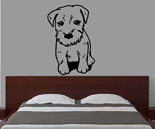 Wandtattoo Zwerg Schnauzer Miniature dog Hund Hunde sticker Tier Tür Auto Aufkleber Wohnzimmer Schlafzimmer 1B152, Farbe:Königsblau Matt;Hohe:90cm (Miniature Dog Schnauzer)