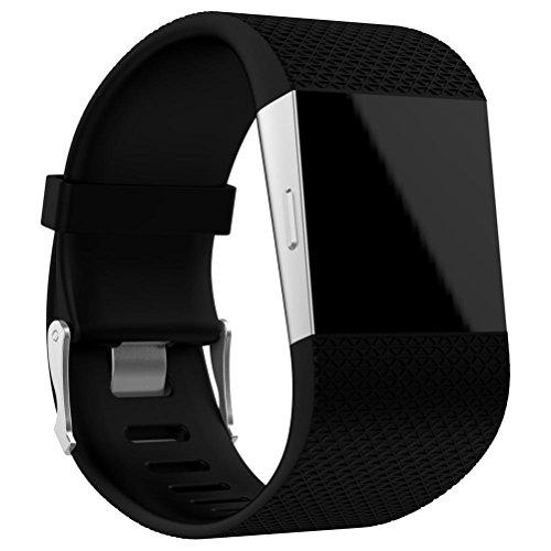 OVERDOSE Armband für Fitbit Surge, Ersatz Armband Band Verschluss Wölbungs Werkzeug Installationssatz für Fitbit Surge (Black, 160-220MM)