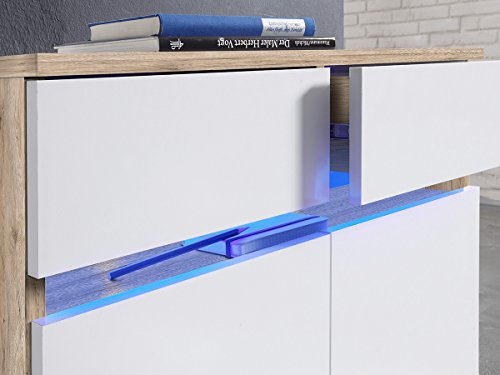 "Kommode Sideboard Anrichte TV-Lowboard Lowboard in inkl. Beleuchtung ""Light"" (Kommode (60039) 69 x 108 x 34 cm) - 5"