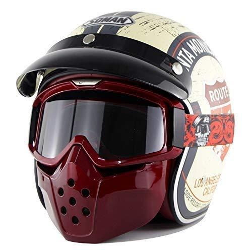 QIULAO Retro Harley Helm 3/4 Open Face Motorrad Motorradhelm ECE-Standard-Schädel Jet-Helm Mit Goggle-Maske Und Visier (Size : XXL)
