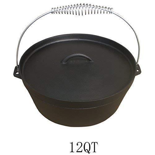 Andreas Dell Dutch Oven 12QT Dutch-Oven aus Gusseisen Fertig eingebrannt 12er Koch-Topf aus Gusseisen voreingebrannt