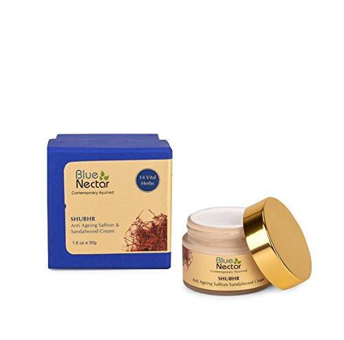 Blue Nectar Ayurvedic Anti Ageing Saffron & Sandalwood Face Cream For Skin Firming For Women, 50 Gm