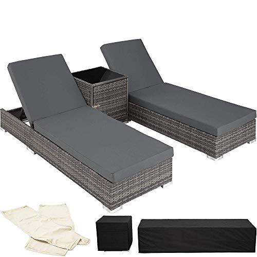 Generic Aluminium-Sonnenliege + Tischgartenmöbel-Set - Beinhaltet 2 Abdecksets + Schutzhülle