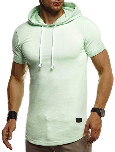 Jungen Muskel T-shirt (Leif Nelson Herren Sommer T-Shirt mit Kapuze Slim Fit Baumwolle-Anteil Cooles Basic Männer T-Shirt Kapuzenshirt Jungen Kurzarmshirt Kurzarm Lang LN8317 Mint Large)