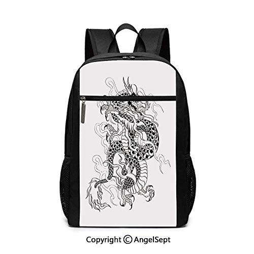 Sketch Ancient Mighty Figure with Claws Fire Monster Tattoo School Backpack
