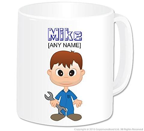Personalised Mechanic Boy Mug (A GoPersonalised Design)