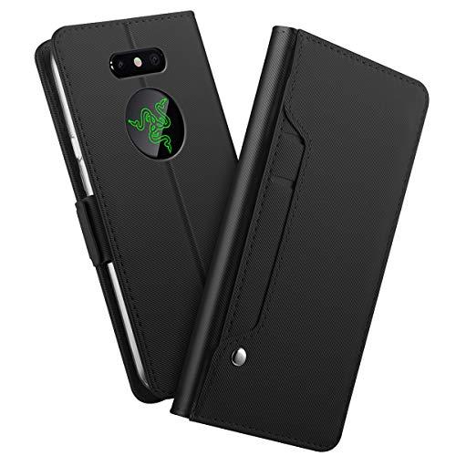 Casefirst kompatibel mit Razer Phone 2 PU Hülle Leder Flip Handyhülle PU Lederhülle Schutzhülle mit Kartensteckplatz & Standfunktion Stoßfest Ultra Schlag Schutz Hülle - Black