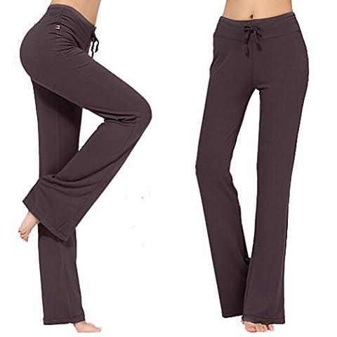 Frauen-Tunnelzug-Hose Modal Comfy Yoga-Hose Tanz und im Freiensport-Braun M
