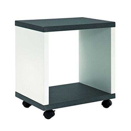 Haku-Möbel 87584 Beistellwagen MDF, granitoptik/weiß, 30 x 43 x 48 cm