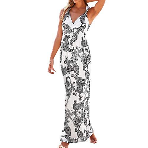 Yvelands Sommerkleider Damen Maxi Kleid Off Shoulder Abendkleid Strandkleid Party Schulter Kleider Schulterfrei Strand Spielanzug Boho (Weiß3,S) (Kleid Petite 0)