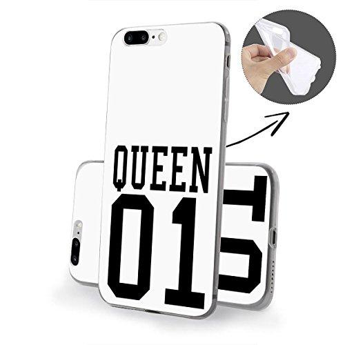 finoo   iPhone 8 Plus Weiche flexible Silikon-Handy-Hülle   Transparente TPU Cover Schale mit Motiv   Tasche Case Etui mit Ultra Slim Rundum-schutz   Cute but psycho Queen one weiß