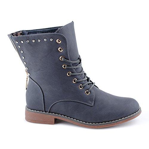 Damen Stiefeletten Stiefel Nieten Reißverschluss Blockabsatz Schnür Strass Biker Boots Schuhe Grau/Grau z01U7B