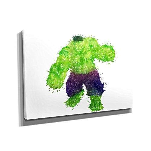 Incredible Attack - KUNSTDRUCK auf Leinwand (50x75 cm) zum VERSCHÖNERN IHRER WOHNUNG. Verschiedene Formate AUF ECHTHOLZRAHMEN. HÖCHSTE QUALITÄT, UMWELTBEWUSST hergestellt. MIT (Unglaubliche Hulk Anzug)