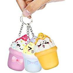 sunshineBoby Anti-Stress Squeeze Spielzeug mit Schlüsselanhänger, Squishies Kawaii Eiscreme Langsam steigende Creme duftender Schlüsselanhänger Stressabbau Spielzeug (zufällig, 8 X 5cm)