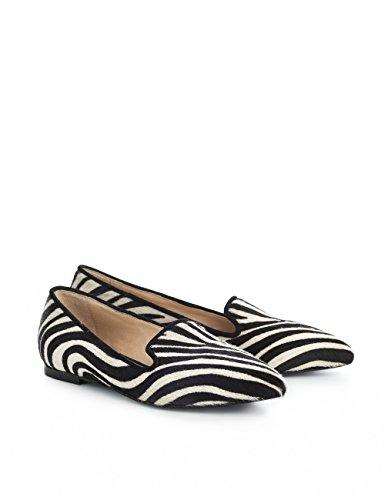 ShoeVita Leder handgefertigte Loafer Spitz Damen Fell Slipper Zebra Look Animalprint Größe 33 - 45 Mehrfarbig