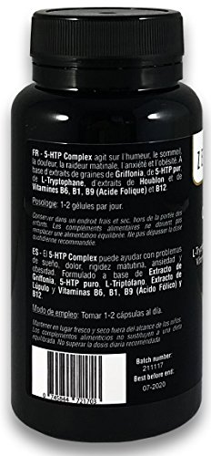 41tkvf%2BQvNL - 5-HTP Complex with L-Tryptophan, Hops extract and Vitamins B1, B6, B9, B12, 60 Capsules, for mood, sleep, pain, anxiety and obesity | 100% Natural, Non-GMO