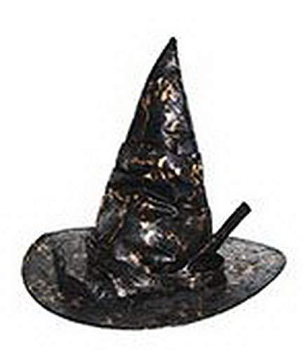 erdbeerclown - Kostüm Accessoires Zubehör Spitzer Hexen-Hut Zauberin Magierin mit Goldenen Highlights, Whitch Hat, perfekt für Halloween Karneval und Fasching, Schwarz