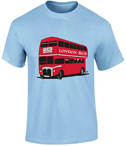 London Bus Vintage Transport Buses Uk Slogan T-Shirt T Shirt Top Gift - Grey, Light Blue or Beige Colour Men T shirt