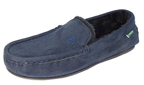 Herren Dunlop 'Lewis' Mokassin Hausschuhe., Blau - Dunkelblau - Größe: 45