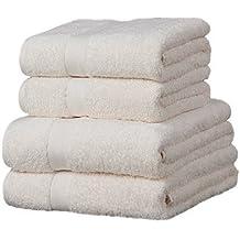 Linens Limited Luxor - 4 toallas para invitados - 100% algodón egipcio - Marfil