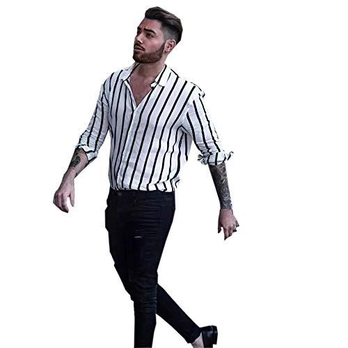 DNOQN Männer T Shirt Slim Fit T Shirts Sportbekleidung Herren Männer Mode Shirts Beiläufige Lange Hülsen Gestreifte Oberseiten Lösen Beiläufige Bluse M