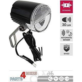 P4B Front Scheinwerfer Fahrrad LED, 30 LUX, Standlicht, Sensor (Auto / An / Aus), für Nabendynamo, mit deutscher StVZO, schwarz