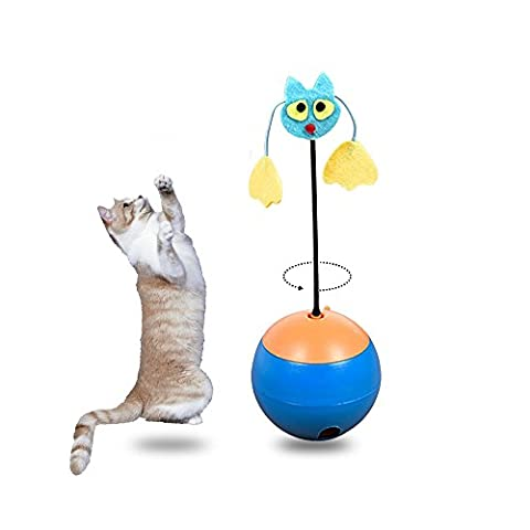 Zeee Cat Toys Interactive, LED Light Pointer, Cats Tumbler Pet Leakage Food interactive cat toys balls (Blue)