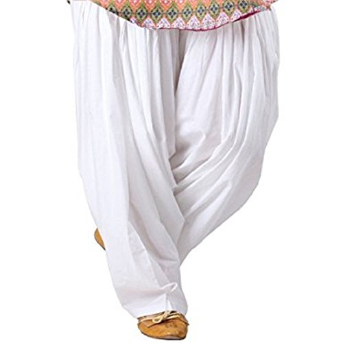 IJS Women's Cotton Patiala Salwar ( White_Free Size)