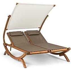 Blumfeldt Sonnendeck • Chaise Longue Double • Auvent réglable sur 5 Niveaux • Construction avec poutres en Bois • Deux Coussins imperméable • Assise en Tissu à Maillage en Polyester résistant • Blanc
