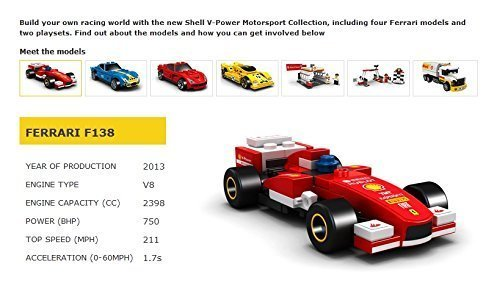 Lego 2014 New Shell V-power Collection Ferrari F138 40190 Exklusive versiegelt (Sammlerstücke Ferrari)