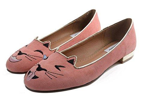 GLTER Donne Closed-Toe pompe di barche Scarpe Alternative Cat Scarpe personalità ricamati scarpe piane Scarpette Rosa Verde Pink