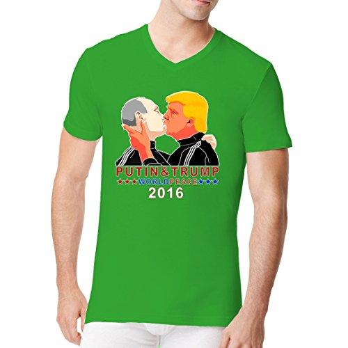 Im-Shirt - Wladimir & Donald - Bruderkuss 2016 cooles Fun Men V-Neck - verschiedene Farben Kelly Green