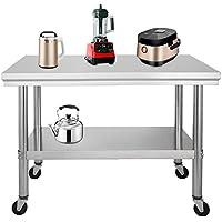 Moracle Mesa de Trabajo de Cocina Profesional Mesa de Trabajo de Cocina de Acero Inoxidable con Ruedas (91x61cm)